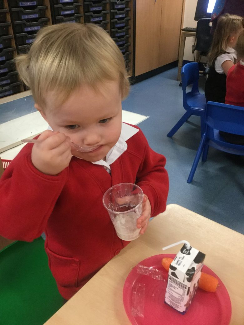 Tasting some delicious porridge like the three bears made and Goldilocks ate all up!